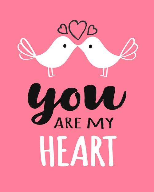 Você e eu letras com beijos pássaros cartão de dia dos namorados Vetor Premium