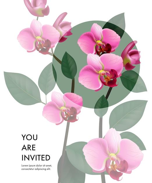 Você é modelo de cartão de convite com orquídeas cor de rosa transparentes e círculo verde Vetor grátis