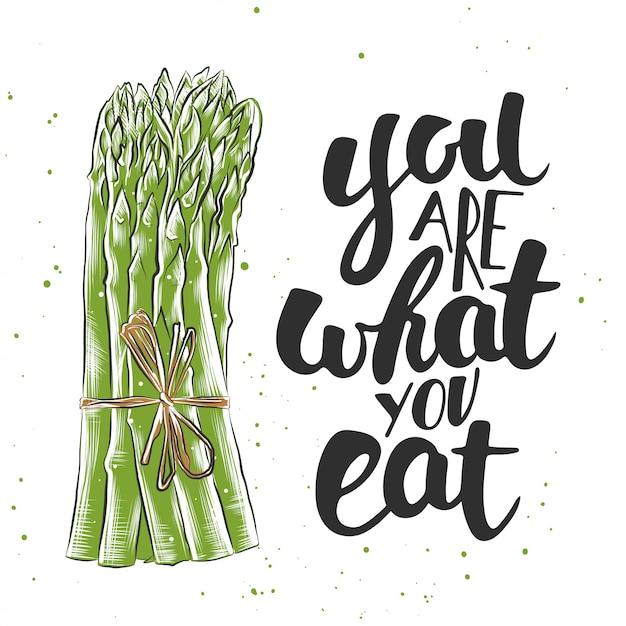 Você é o que você come com esboço de espargos Vetor Premium