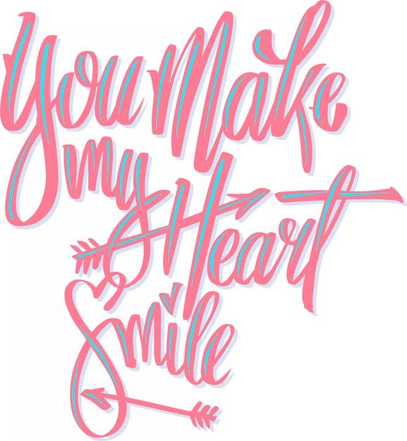 Você faz meu coração sorrir Vetor Premium