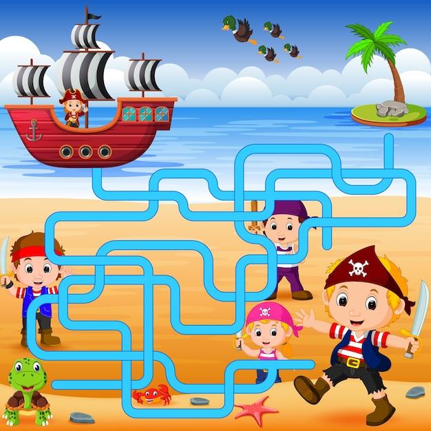 Você pode ajudar o pirata a encontrar o seu navio? Vetor Premium