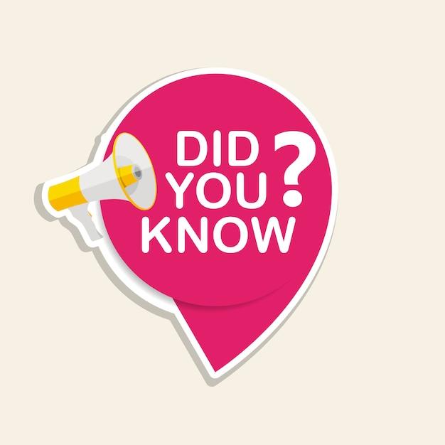 Você sabia que etiqueta autocolante com balão e megafone. ilustração Vetor Premium