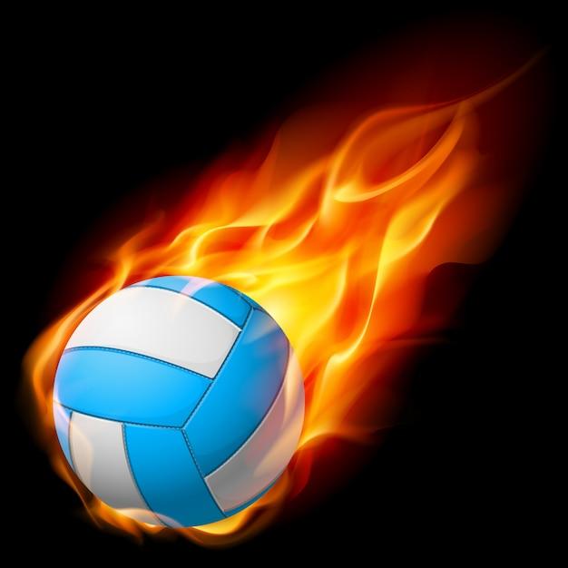 Voleibol de fogo realista Vetor Premium