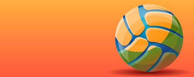 Voleibol esporte conceito bandeira fundo, estilo cartoon Vetor Premium