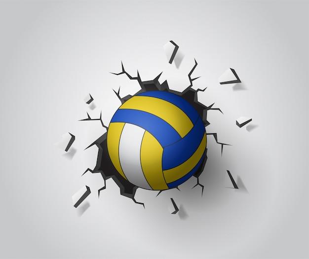 Voleibol na parede quebrada. vetor eps10 da ilustração. Vetor Premium