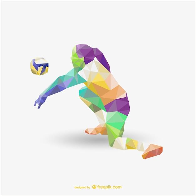 Voleyball jogador desenho poligonal Vetor grátis