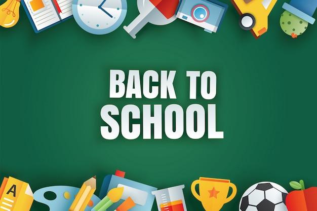 Volta ao banner da escola com itens de educação na lousa Vetor Premium