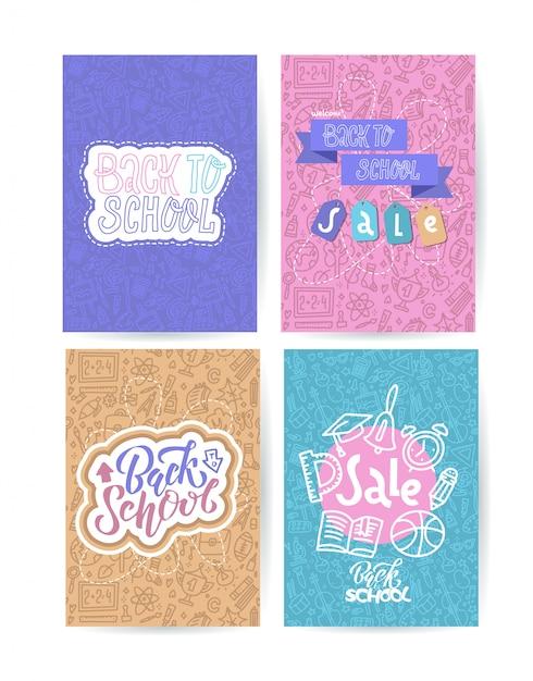 Volta ao cartão de escola com emblemas de cor em fundo diferente, consistindo de material escolar Vetor Premium