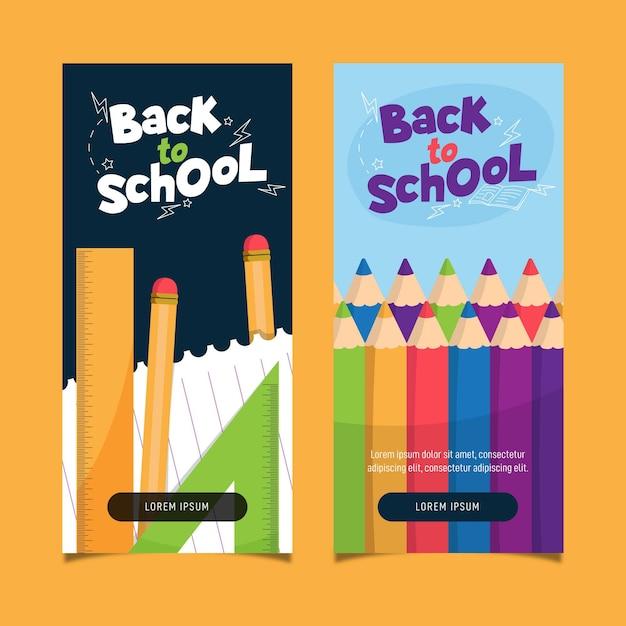 Volta ao conceito de banners de escola Vetor grátis