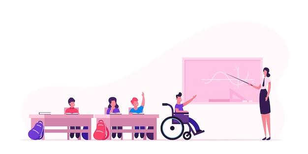 Volta ao conceito de escola com crianças e professor. ilustração plana dos desenhos animados Vetor Premium
