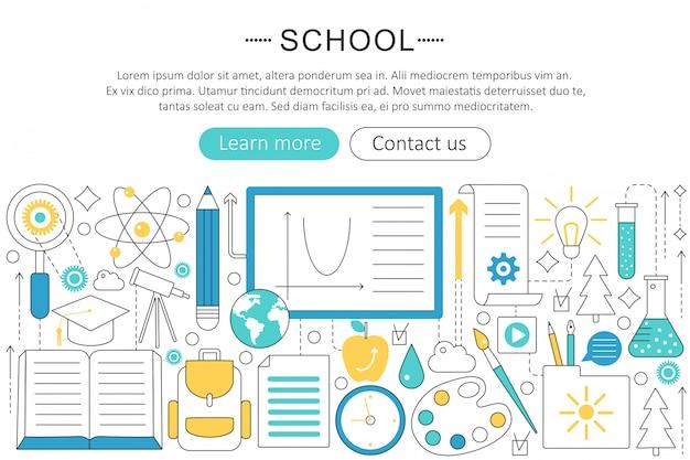 Volta ao conceito de linha plana de escola Vetor Premium