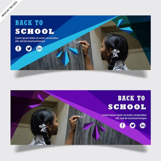 Volta ao modelo de banner de escola Vetor Premium