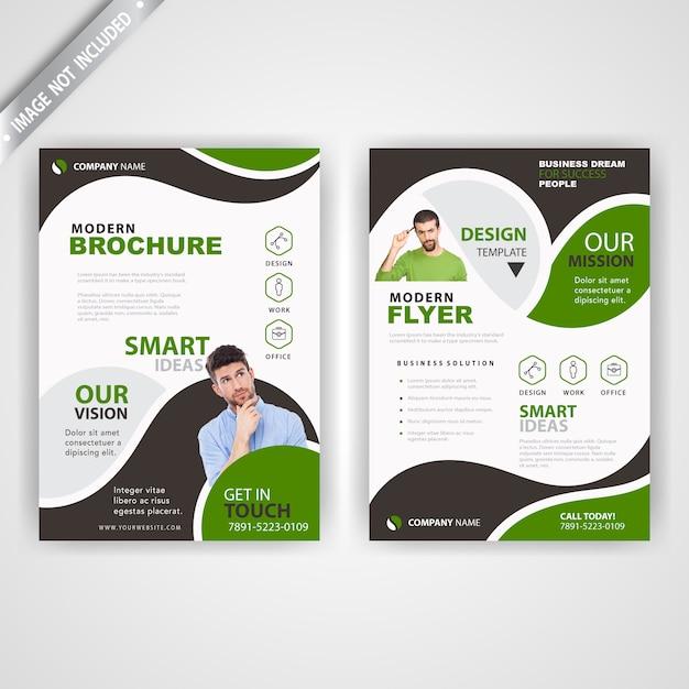 Volta e font corporativo verde panfleto Vetor grátis
