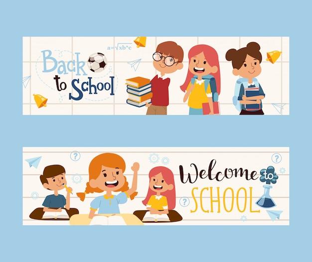 Volta para a bandeira da escola, ilustração. crianças felizes com livros, colegas de classe amigáveis. cabeçalho do livreto de educação escolar. personagens de desenhos animados de meninos e meninas Vetor Premium