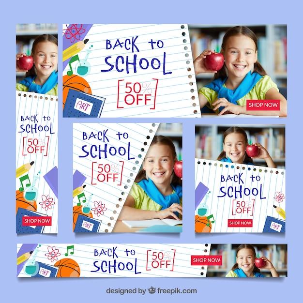 Volta para a coleção de banner web escola com imagens Vetor grátis