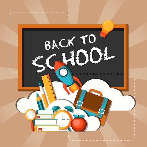Volta para a escola design plano ilustração Vetor Premium