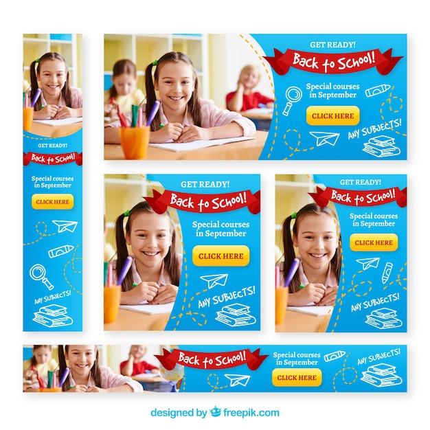 Volta para a escola web banners com foto Vetor grátis