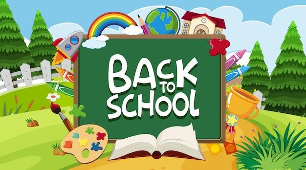 Volta para a placa da escola com muitos itens de escola no fundo do parque Vetor Premium