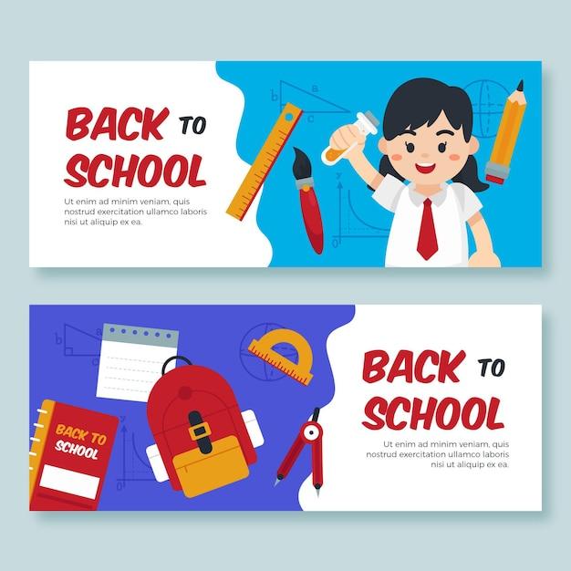 Volta para banners escolares com aluno Vetor grátis