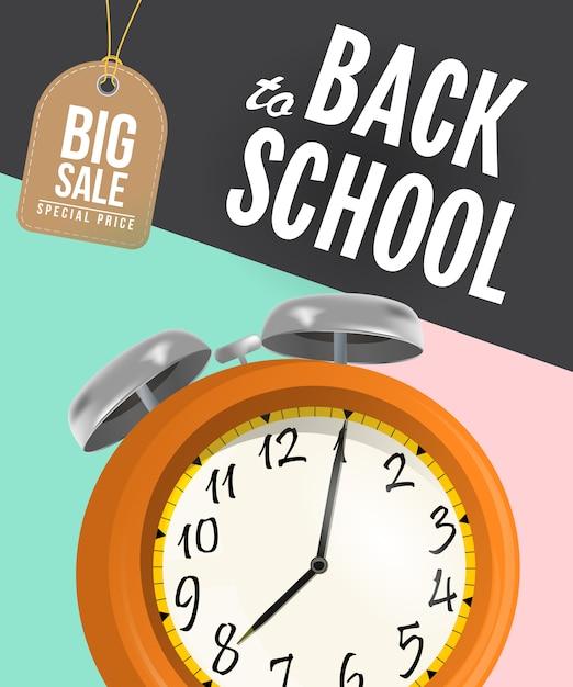 Volta para cartaz de venda de escola com despertador e tag Vetor grátis