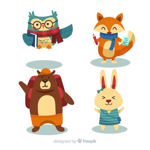 Volta para desenhos animados de coleção de animais de escola Vetor grátis