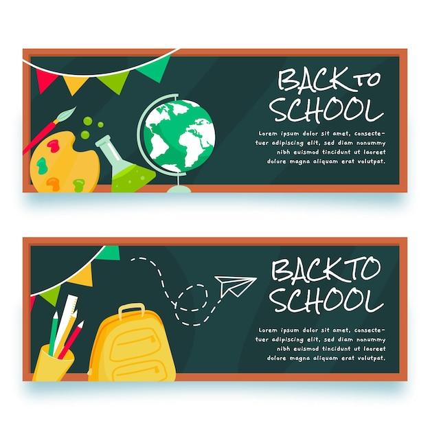 Volta para escola banner desenhar quadro-negro Vetor grátis