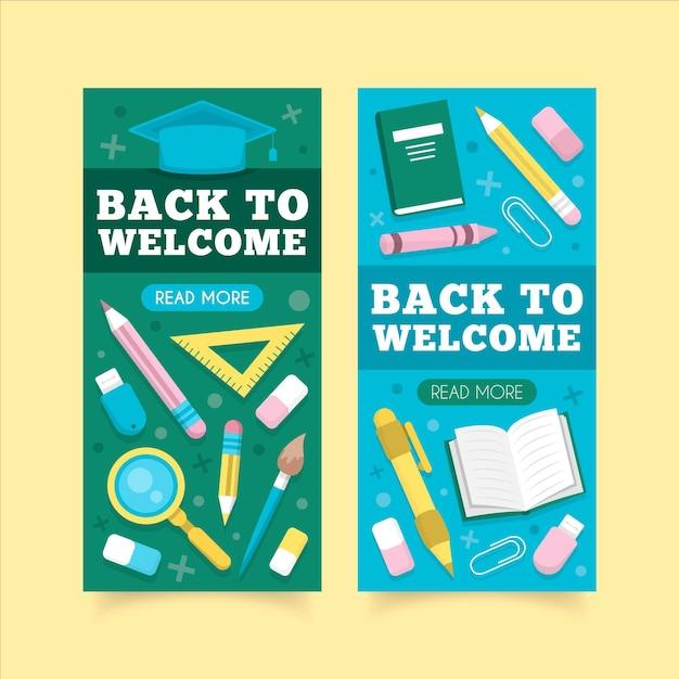 Volta para escola banners em design plano Vetor grátis