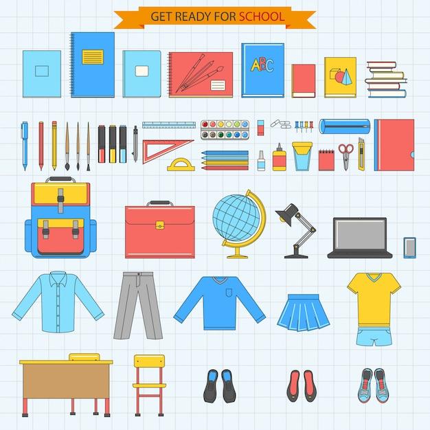 Volta para escola conjunto de ícones Vetor Premium