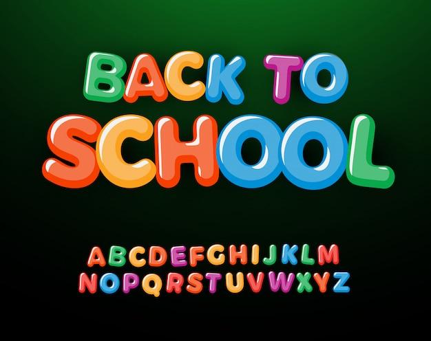 Volta para escola conjunto de letras e números. alfabeto de estilo de educação de crianças. fonte para eventos, promoções, logotipos, banner, monograma e cartaz. tipografia. Vetor Premium