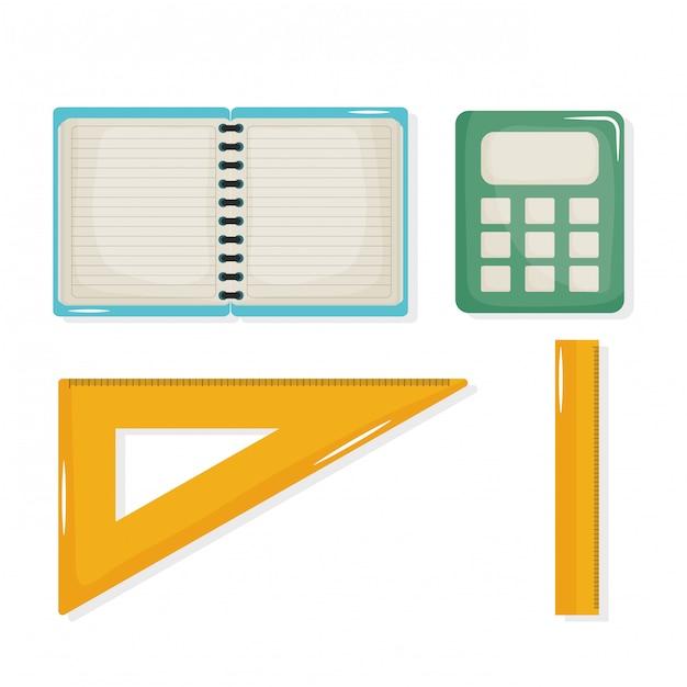 Volta para escola definir ícones Vetor grátis