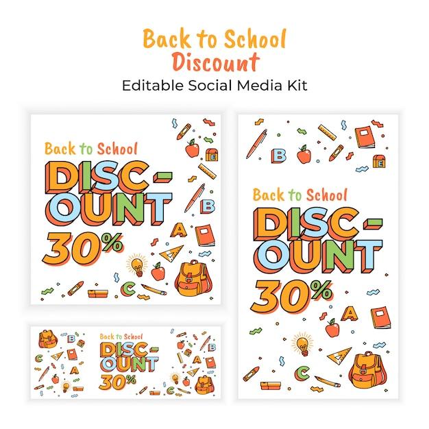 Volta para escola desconto banner de mídia social Vetor Premium