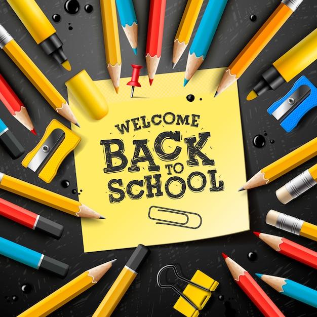 Volta para escola design com lápis e notas autoadesivas. ilustração com post-it, pin, suprimentos e letras de mão para cartão de felicitações, banner, panfleto, convite. Vetor Premium