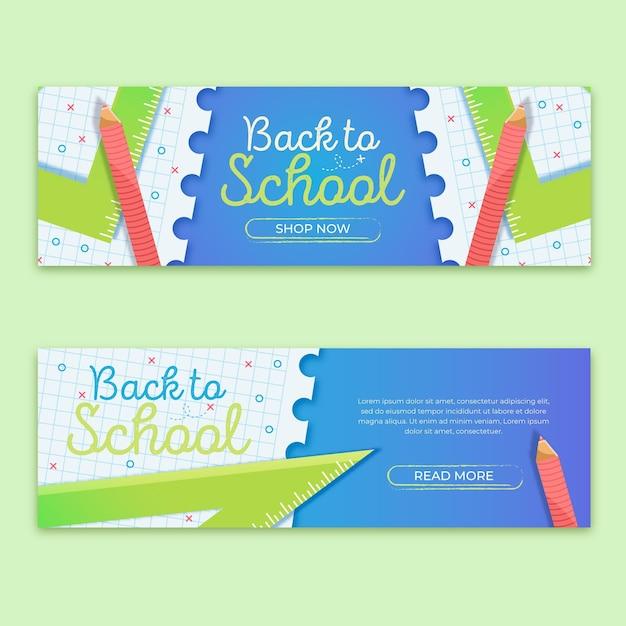 Volta para escola design plano de banners Vetor grátis