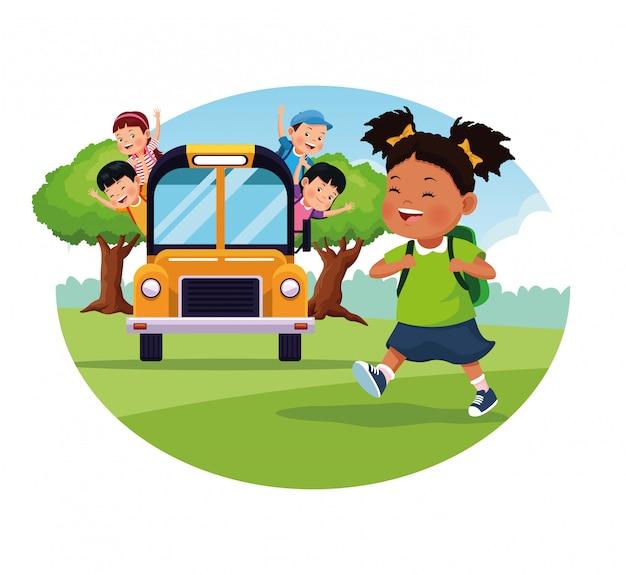 Volta para escola dos desenhos animados de crianças Vetor grátis