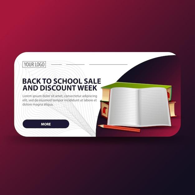 Volta para escola e desconto semana banner Vetor Premium