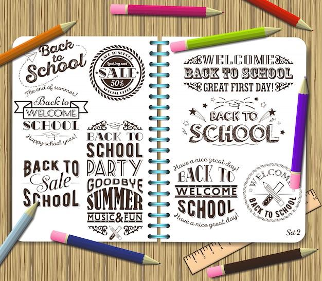 Volta para escola e venda, elemento de design de letras no fundo do livro de exercícios com lápis de cor Vetor Premium