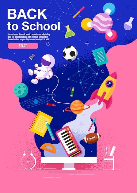Volta para escola inspiração cartaz liso colorido Vetor Premium