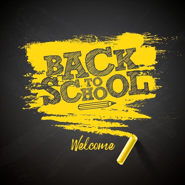 Volta para escola letras com letras de giz e tipografia na lousa preta Vetor Premium