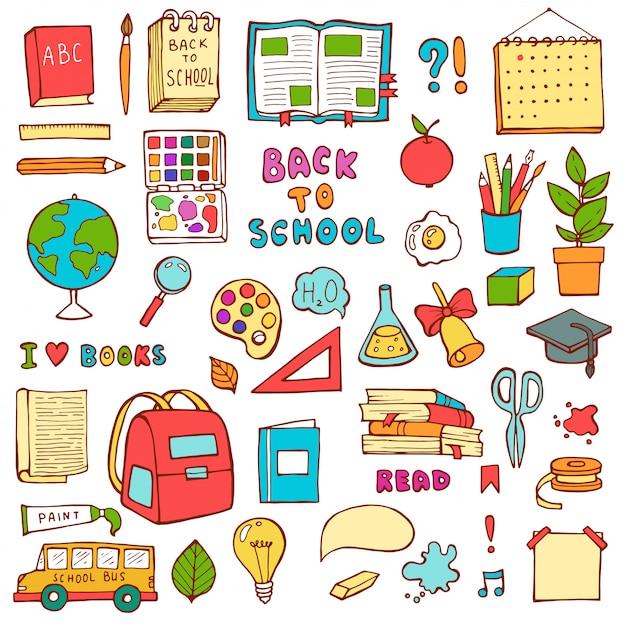 Volta para escola mão desenhada doodle conjunto Vetor Premium