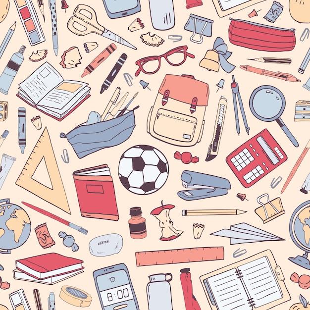 Volta para escola padrão sem emenda com material de educação ou artigos de papelaria na luz de fundo. Vetor Premium