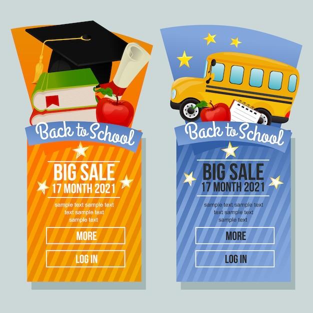 Volta para escola venda banner vertical escola mercadorias Vetor Premium