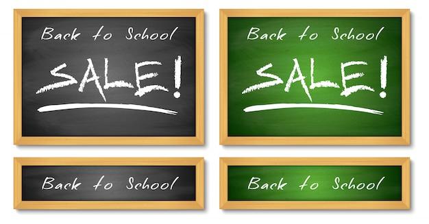 Volta para escola venda banners. backgroundsn verde e preto de madeira do quadro. Vetor Premium