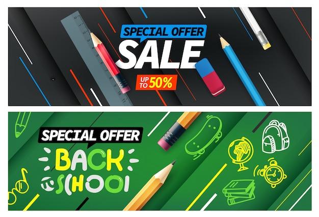 Volta para escola venda, oferta especial banner conjunto Vetor Premium