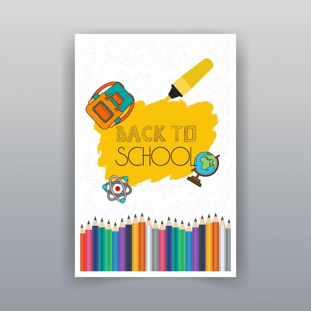 Volta para escola verão venda brochura design vector Vetor Premium
