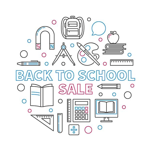 Volta para ilustração em vetor circular venda escola contorno Vetor Premium