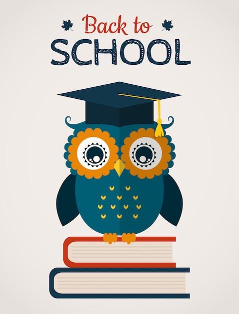 Volta para o cartão de vetor de escola com a coruja. Vetor Premium