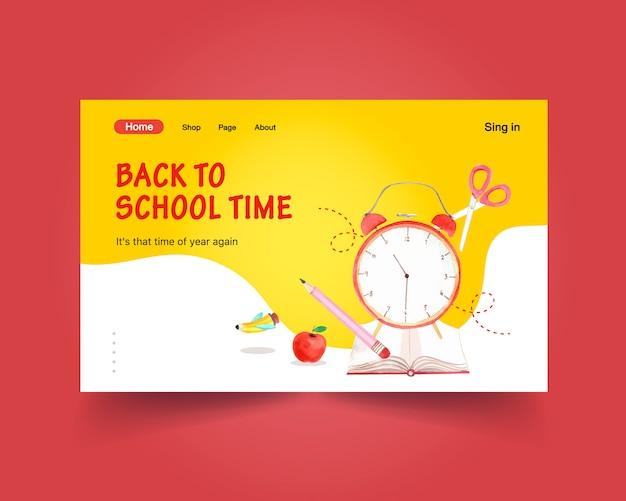 Volta para o conceito de escola e educação com o modelo de site para publicidade on-line e internet aquarela Vetor grátis