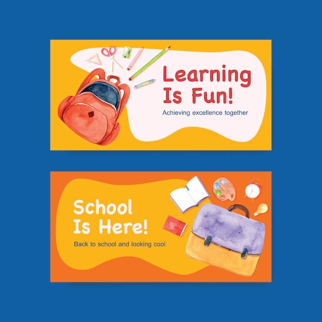 Volta para o conceito de escola e educação com o modelo do twitter para publicidade aquarela de marketing on-line e digital Vetor grátis