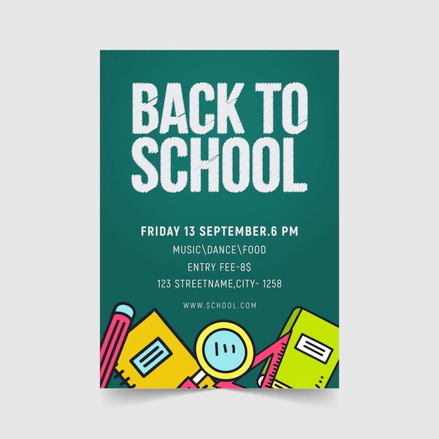Volta para o design de modelo de panfleto de escola Vetor Premium