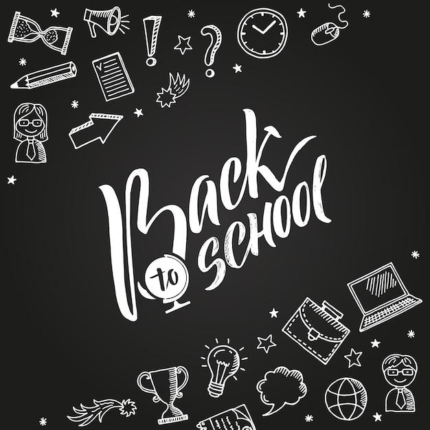 Volta para o fundo da escola com ícones de educação doodle Vetor Premium